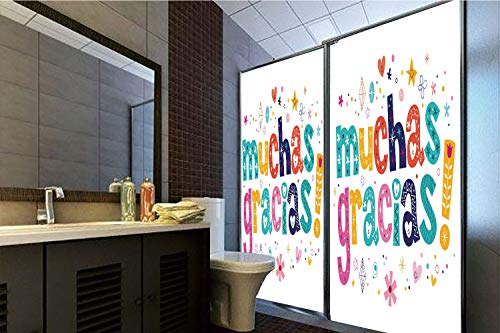 """Horrisophie dodo No Glue Static Cling Glass Sticker,Mexican Decor,Spanish Thank You Quote with Cartoon Style Hearts Diamonds Flowers Artwork,Multicolor,39.37"""" H x 23.62"""" W for Home&Office"""