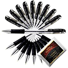 Cello Techno Tip Black Pen Exam Series Comfortable Writing 0.6 mm Tip (10 Ball Point Pens Bundle with TeaLegacy Free Sampler) Write Long Time In School & College Low Pressure High Volume Elastic Grip