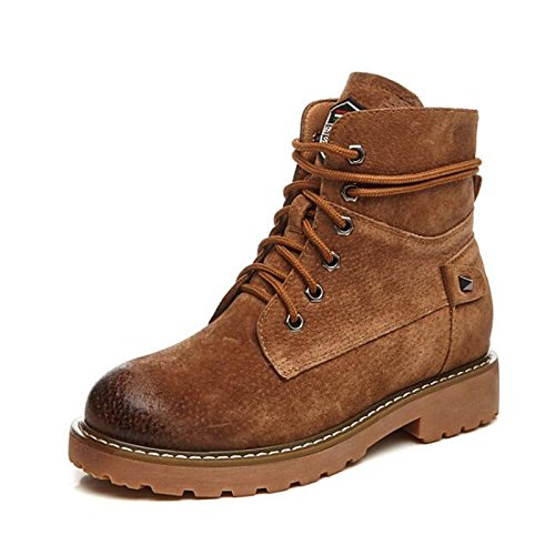 for Shoes Gray Camel Low HSXZ Comfort Boots Boots Casual Green Army Heel Mid ZHZNVX Army Green Boots Calf Spring Pigskin Women's Leather Combat Real Black Fall ETWHwpqB