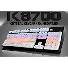 ABKO K8700 Crystal Keycap Optical Switch Rainbow LED Mechanical Keyboard (Kailh Speed Optical) Full Water Resistance, Easy Swap Switch, NKEY Rollover (English/Korean Type) (Black (White Keycap))