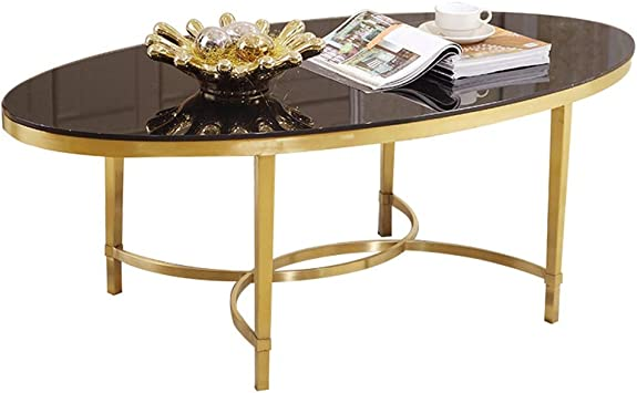 Amazon Com Oval Coffee Table Black Tempered Glass Countertop Gold Wrought Iron Frame Small Living Room Tea Table Size 80 40 42 Cm 100 50 42 Cm Furniture Decor