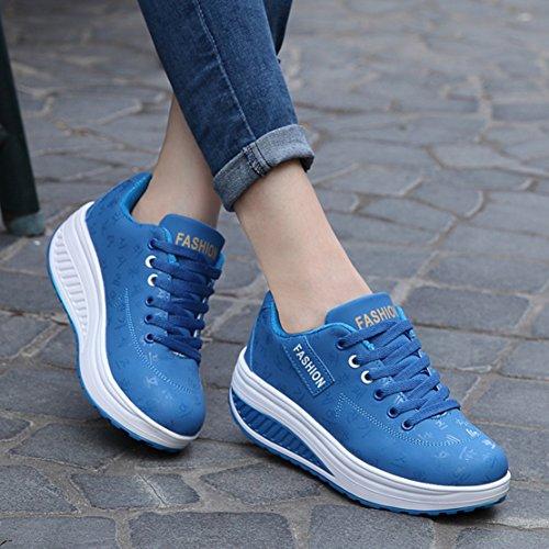 Damen Sneaker Schuhe Sportschuhe Mädchen PE-Turnschuhe Frauen Fitness-Shake Schuhe Blau