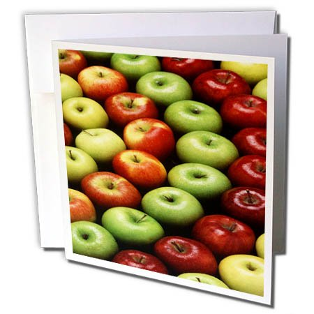 3dRose TDSwhite – Farm and Food - Food Fresh Red Green Apples - 12 Greeting Cards with Envelopes (gc_285144_2) by 3dRose