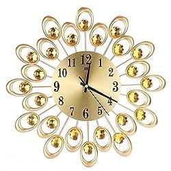 Awakingdemi Luxury Diamond Crystal Leaf Large Wall Clocks Metal Living Room Creative Wall Clock Fashion Silent Wall Watch (B)