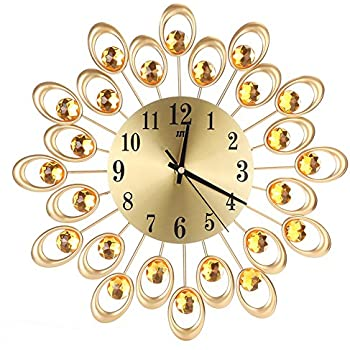 Whitelotous Metal Inlaid Diamond Flower Design Battery Non-Ticking Digital Decorative Large Wall Clock for Living Room Bedroom 15