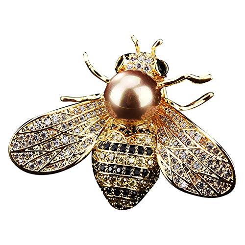 (Brooch Pin,Maserfaliw Jewelry Brooch Breastpin,Stylish Bee Cubic Zirconia Women's Brooch Pin Coat Sweater Shirt Dress Ornament - Golden)