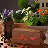 Bamboo Wood with Red LED Creative Rectangle LED Digital Alarm Wood Wooden Clock Temperature Display Voice Sound with Calendar USB DC6V Relogio De Mesa