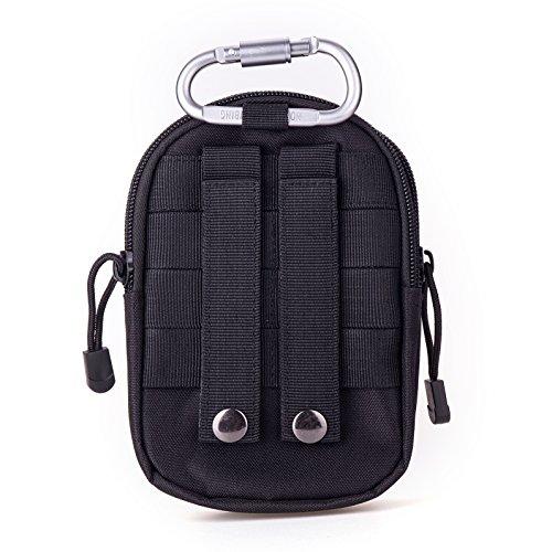 LUZWAY Taktische Hüfttaschen Molle Tasche Gürteltasche 1000D, Hüfttasche Beintasche Multifunktionstasche mit Aluminium Karabiner, für Outdoor Wandern Camping Radfahren Angeln Täglicher Gebrauch Schwarz +2 RFID Kartenhüllen + 1 Karabiner