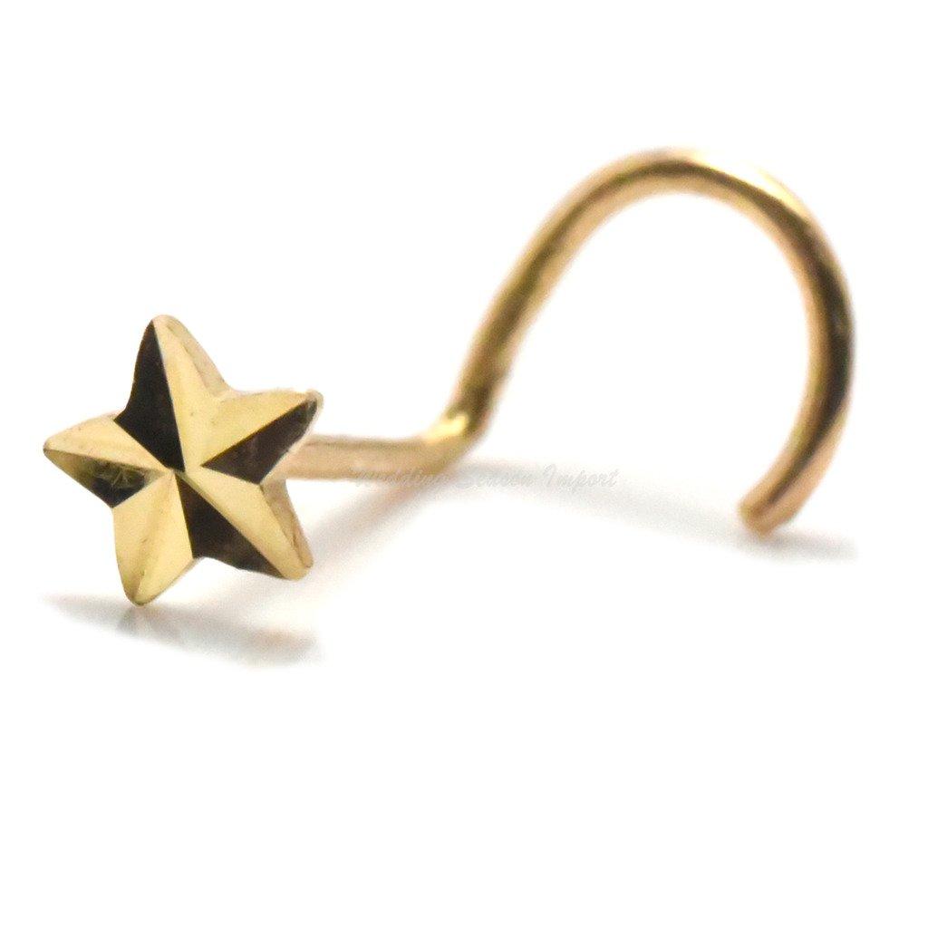 3mm Diamond Cut Star Nose Piercing Stud 14k Yellow Gold Screw Twist Cartilage Jewelry
