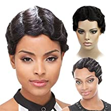 Remeehi Brazilian Virgin Human Hair No Lace Africa Ladies Wig Quality Machine Made Wig Short Wave Wig 10Inch 1B#Nature Black