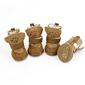 URBEST®Detachable Closure Puppy Dog Shoes Booties Boots Brown 2 Pairs (xxs)