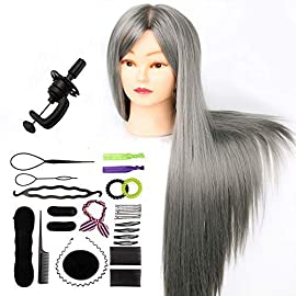 Tfmox Training Head 28″ 70Cm Grey Hair Hairdressing Training Head Mannequins 100% Synthetic Long Hair Dummy Doll Heads Hairstyles + Stand