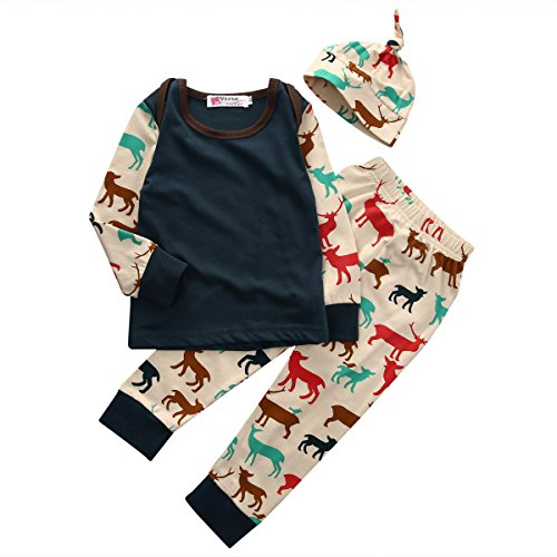 Baby Boys Christmas Deer Long Sleeve T-shirt and Pants Outfit with Hat (80(6-12M), Dark green)