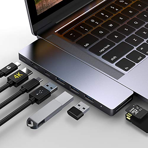 GIKERSY USB C Hub Adapter- 8 in 1 Thunderbolt 3 Hub Compatible with MacBook Air 2018 13 inch,MacBook Pro 2018/2017/2016 13/15inch, 4K HDMI Port,USB-C Port,3 USB 3.0 Ports,SD/Micro SD Card Reader