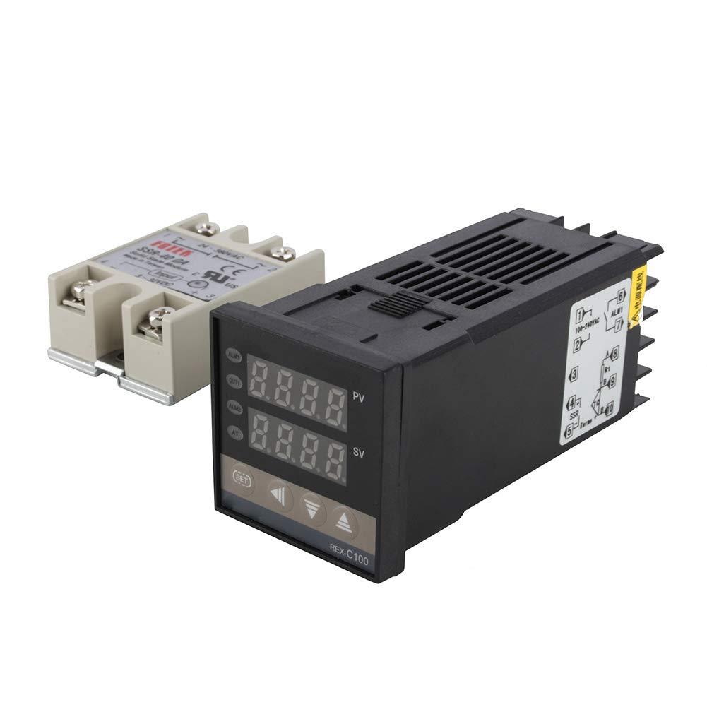 Jarhit Kit de Controlador de Temperatura PID Digital Pantalla Digital Dual Termostato REX C100 Sensor de Sonda Tipo K Rel/é SSR 40Da
