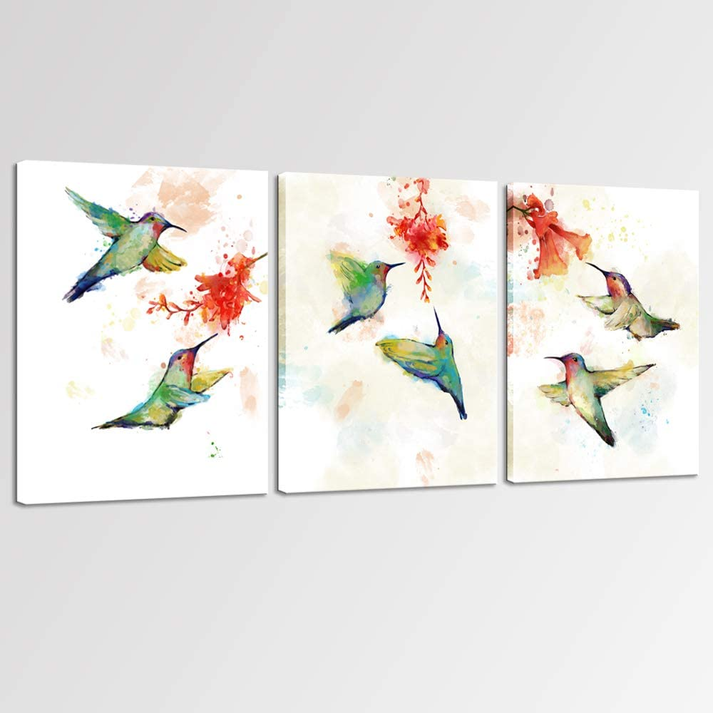 sechars 3 Piece Painting Art Prints Abstract Hummingbird with Flower Canvas Wall Art Birds Poster Picture with Frame Modern Bedroom Bathroom Wall Decor Gifts for Woman