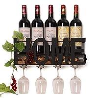 Soduku Soporte de vidrio para vástago largo para vino de metal montado en la pared 4 Almacenamiento de corcho para vino
