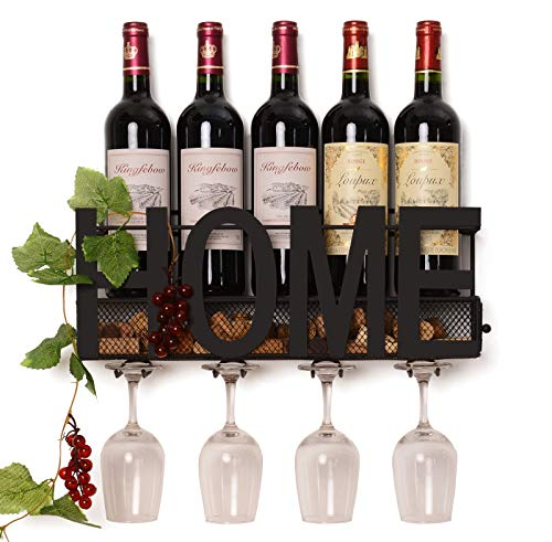 Soduku Wall Mounted Metal Wine Rack 4 Long Stem Glass Holder & Wine Cork Storage ()