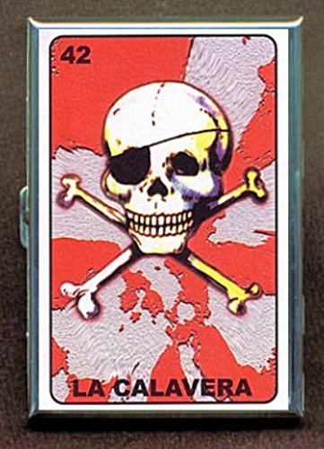 Loteria Pirate Skull Stainless Steel ID or Cigarettes Case (King Size or 100mm)