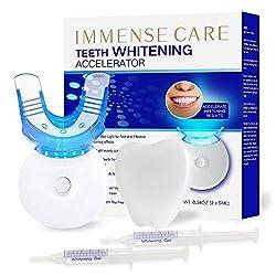 IMMENSE CARE Teeth Whitening Kit, Dental Teeth Whitening, Blue Light Technology Accelerator, 35% Carbamide Peroxide, LED Light, (2) 5ml Gel Syringes, Premium Patent Mouth Tray, Retainer Case