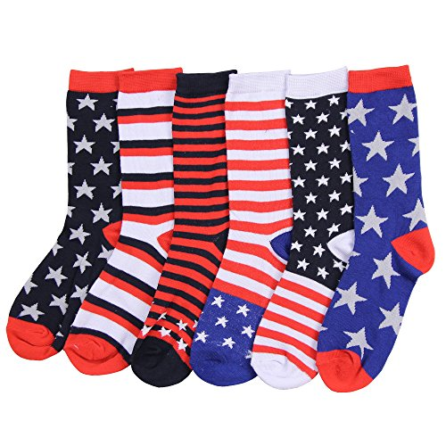 Women's Fun Colorful Crew Sock 6 Packs (American Flag)