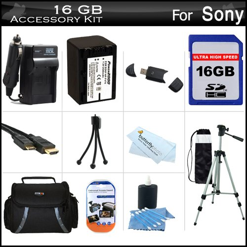 16GB Accessory Kit For Sony HDR-CX200, HDR-CX260V High Definition Handycam Camcorder Includes 16GB High Speed SD Memory Card + Replacement (2300Mah) NP-FV70 Battery + Ac / DC Charger + Deluxe Case + Tripod + Mini HDMI Cable + USB 2.0 SD Reader + More by ButterflyPhoto
