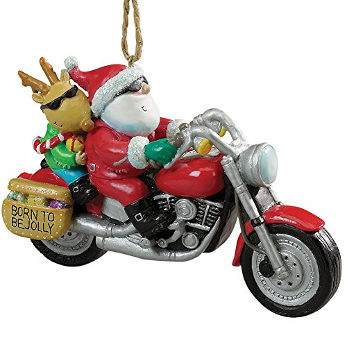 - CAPE SHORE (DOWNEAST CONCEPTS) Cool Motorcycle Santa and Reindeer Born to Be Jolly Resin Christmas Ornament