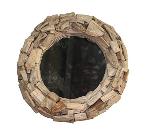 The Kings Bay Small Pieces of Driftwood Round Mirror Nautical Beach Theme Home Goods Accent