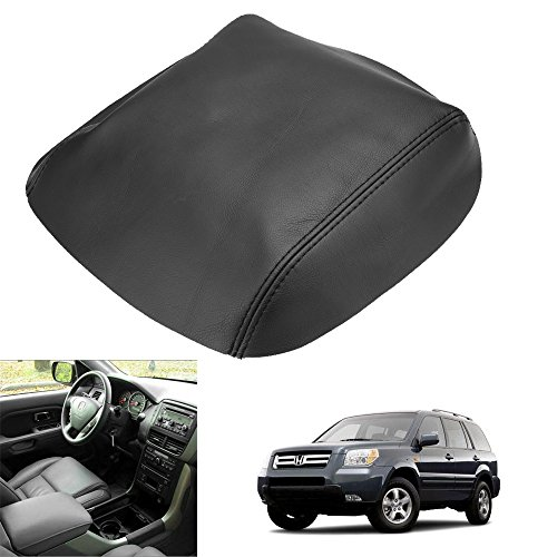 QKPARTS Real Leather Center Console Lid Armrest Cover Fits 2009-2015 Honda Pilot Black NEW ()