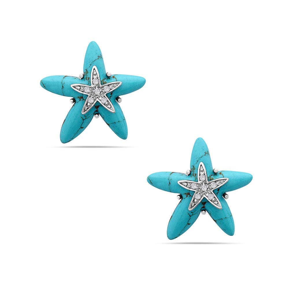 925 Sterling Silver Starfish Earrings CZ Studs - Synthetic Turquoise Starfish Earrings Jewelry by Tisoro