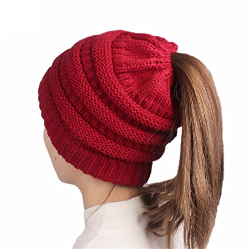 OrliverHL Womens Colorful Beanie Hats with Ponytail Hole Knit Beanies Warm Winter Chunky Skull Cap for Sports Outdoor,Wine Red