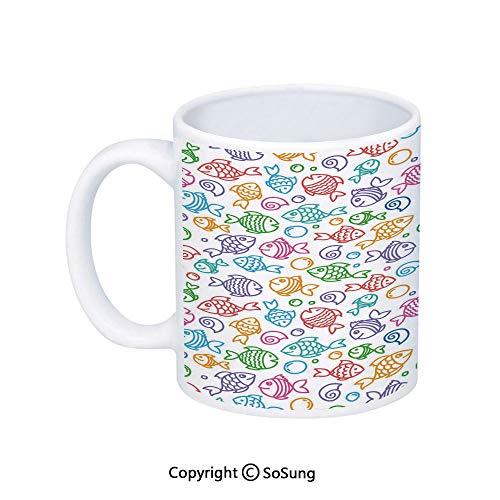 Kids Decor Coffee Mug,Various Color Repeating Funny Fish Motif Cheerful Aquatic Creatures Underwater Image,Printed Ceramic Coffee Cup Water Tea Drinks Cup,Multi