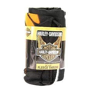 "Harley Davidson ""Wings"" Fleece Blanket (Measures Approximately 50"" x 60"")"