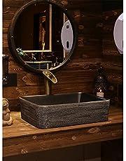 Bathroom Vessel Sink, 46 * 35cm Rectangle Bathroom Ceramic Vessel Sink Modern Black Porcelain Vanity Art Basin
