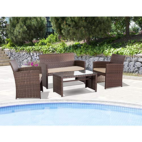 Patiomore 4 Pieces Outdoor Furniture Patio Conversation Set with All-Weather Wicker Chair for Backyard Porch Garden Poolside Balcony, Brown (Rattan Synthetic Garden Furniture)