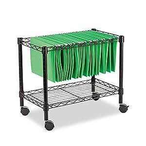 Alera FW601424BL Single-Tier Rolling File Cart, 24w x 14d x 21h, Black