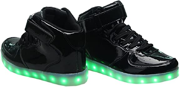 LED Light Up Hi-Top Shoes 11 Color Patterns, USB Rechargeable, Sneakers for  Men, Women, Boys, & Girls (25 EU/ 7 Toddler, Black Glossy): Amazon.ca: Shoes  & ...