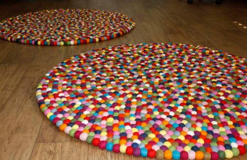 Original Happy As Larry Multicolor Felt Ball Rug - Handmade in Nepal (3'3