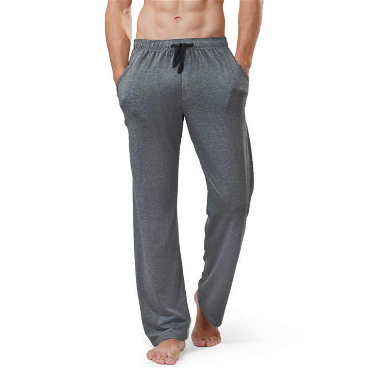 Leroyca Plus Size Homewear Mens Cotton Sleep Bottoms Man String Loose Pijamas Pants Male Solid Breathable Color Lounge Pants