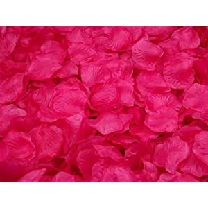 Crazycity New Arrival 2000pcs Colorful Silk Rose Petals Artificial Flower Bridal Shower Favors for Wedding Party Supplies Decoration (Dark hot pink) 97