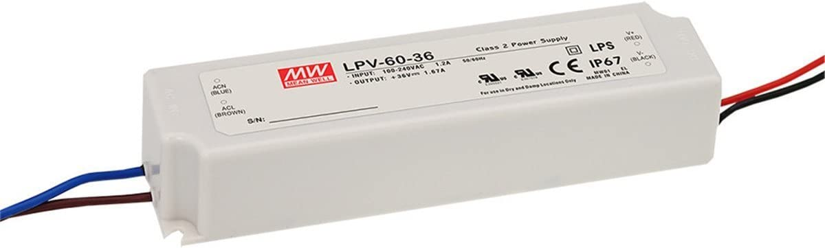 MW Mean Well LPV-60-24 24V 2.5A 60W Single Output LED Switching Power Supply