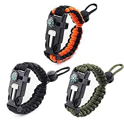 3 PCs Emergency Paracord Bracelets Survival Outdoor Bracelet Suvival Gear with Flint Fire Starter& Whistle& Compass& Scraper Function Adjustable Size Fits Most Wrists for Camping Hiking and More