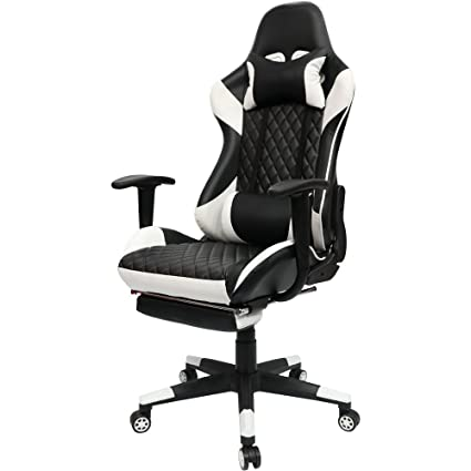 Kinsal Gaming Chair High Back Computer Chair With Footrest, Ergonomic  Racing Chair, Leather