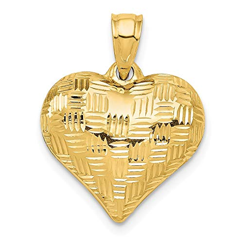 Solid 14k Yellow Gold Textured Puff Heart Pendant ()