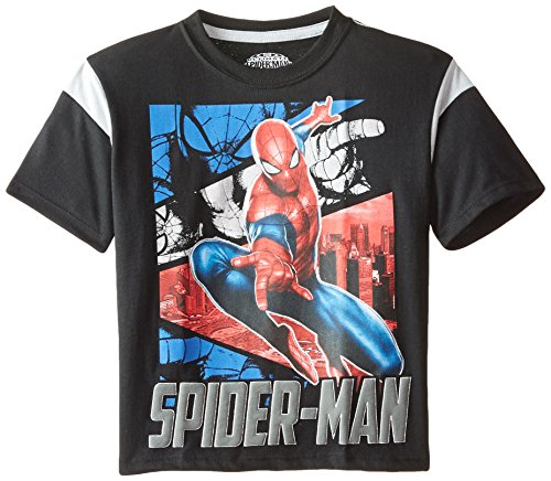 Marvel Boys' Spiderman T-Shirt with Pewter Sleeve Inserts