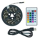 Bonzer-shine 2M/6.56ft USB Powered LED Strip Lights Multi Color Changing Battery Powered RGB LED Strip TV Backlight Operated with 24 Keys RF Remote LED Strip Rope Lights for 40-60''in TV Waterproof