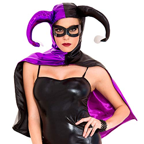 Music Legs Women's Harley Jester Cape, Black/Purple, One Size ()