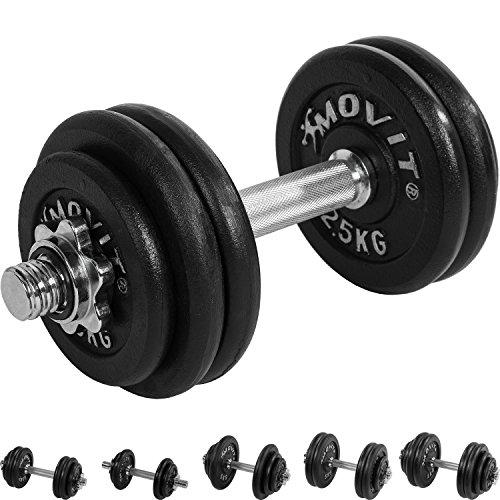 MOVIT® Gusseisen Kurzhantel Set, Varianten 1x10 bis 1x30 kg, Stangen gerendelt mit Sternverschlüssen