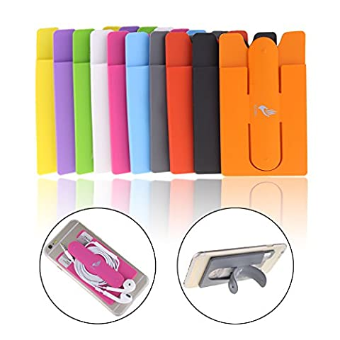 10pcs Mix Color Universal Silicone Stick on Credit Card Holder with Phone Stand - Fits Apple Iphone 6, 6 Plus, 5s, 5, 4,sony Xperia Z3, Samsung Galaxy S5, S4, S3, Note 3, 2, 1, Ipod (Ipad 3 Soft Gel Case)