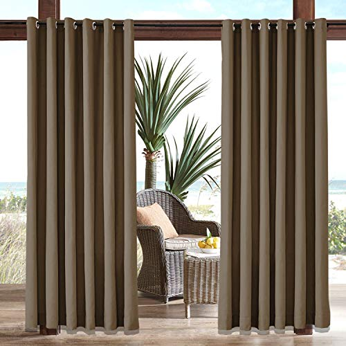 Macochico Chocolate Fade Resistant Outdoor Curtains for Patio Waterproof 120 Length Grommets Windproof Panels Drapes for Pergola Garden Gazebo Porch Cabana 84Wx120L Inch(1 Panel) 84' Pole Top Drapery